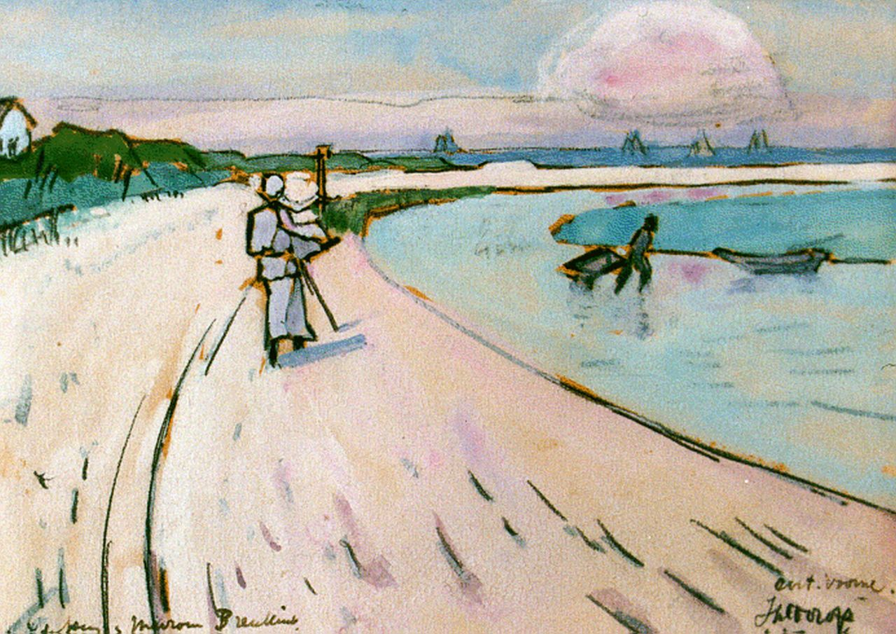 Toorop J.Th.  | Johannes Theodorus 'Jan' Toorop, Walking along the beach, Oostvoorne, watercolour on paper 11.0 x 15.0 cm, signed l.r. and dated 1916