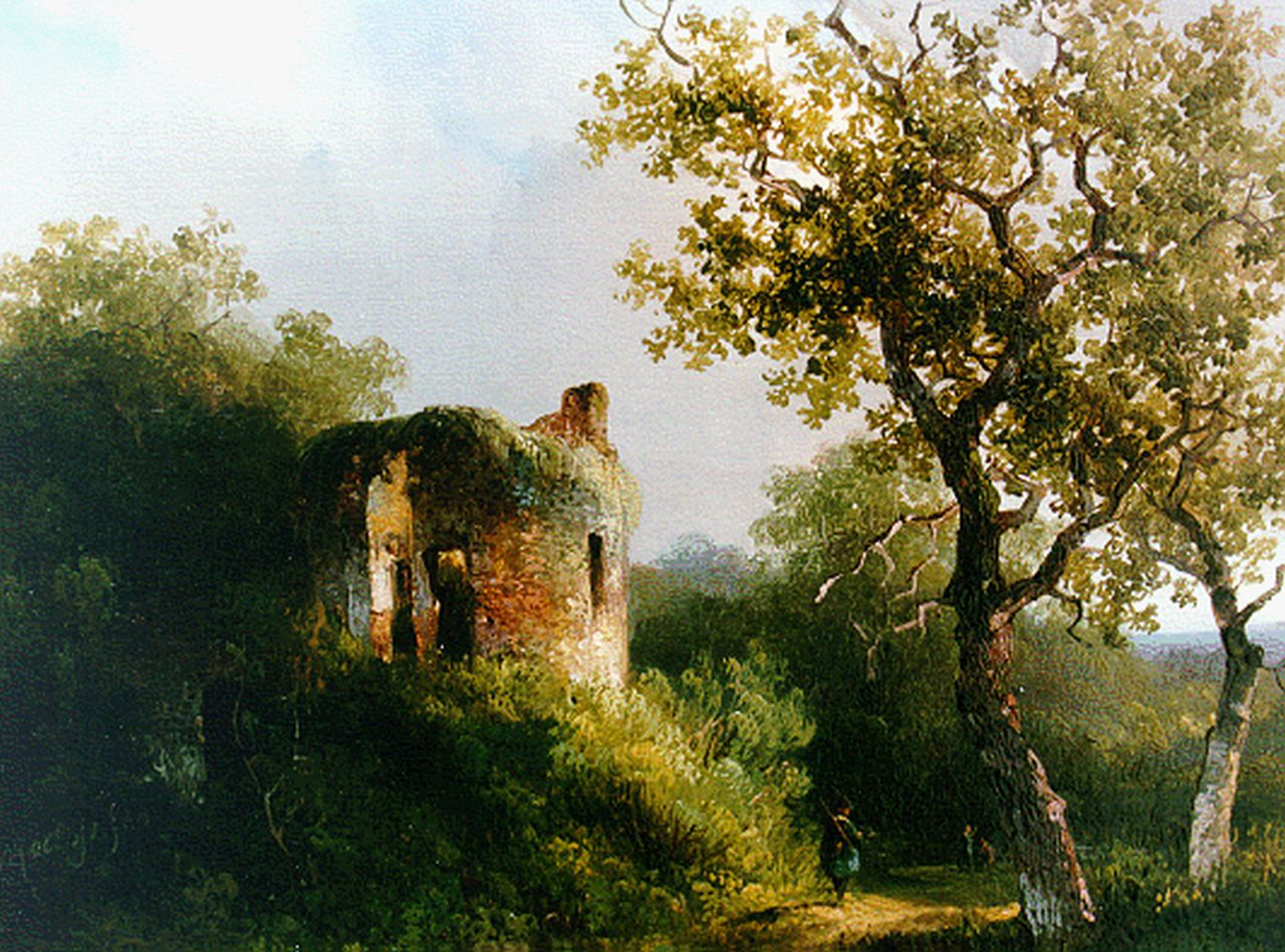 Roelofs W.  | Willem Roelofs, A ruin in a wooded landscape, oil on panel 19.6 x 24.7 cm, signed l.l. and dated 1940