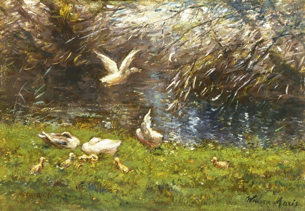 Maris W.  | Willem Maris, Ducks on the riverbank, oil on panel 20.0 x 28.5 cm, signed l.r.