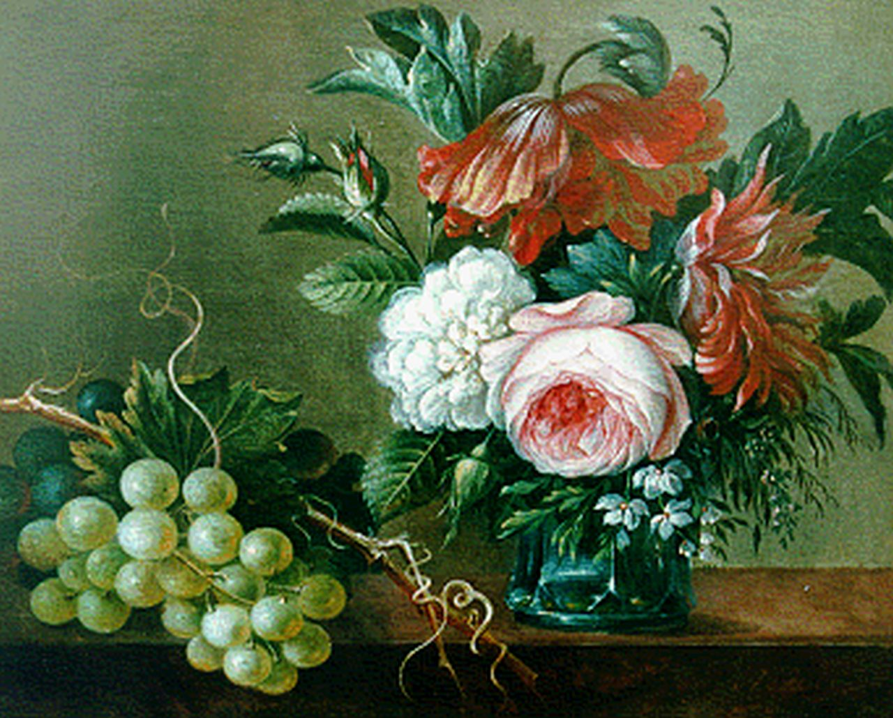 Apol A.  | Adrianus Apol, Still life with flowers and grapes, oil on panel 22.9 x 28.3 cm, signed l.r. and dated 1845