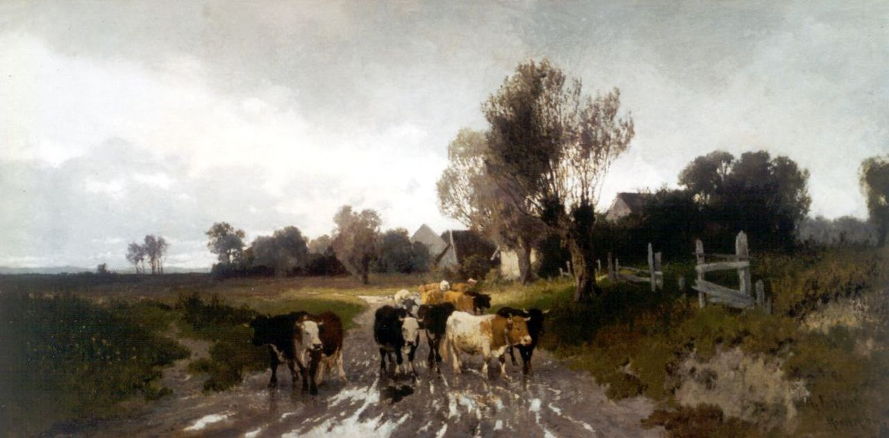 Hermann Baisch | Cattle in a polder landscape, oil on canvas, 39.3 x 78.9 cm, signed l.r. and painted 1869-1881