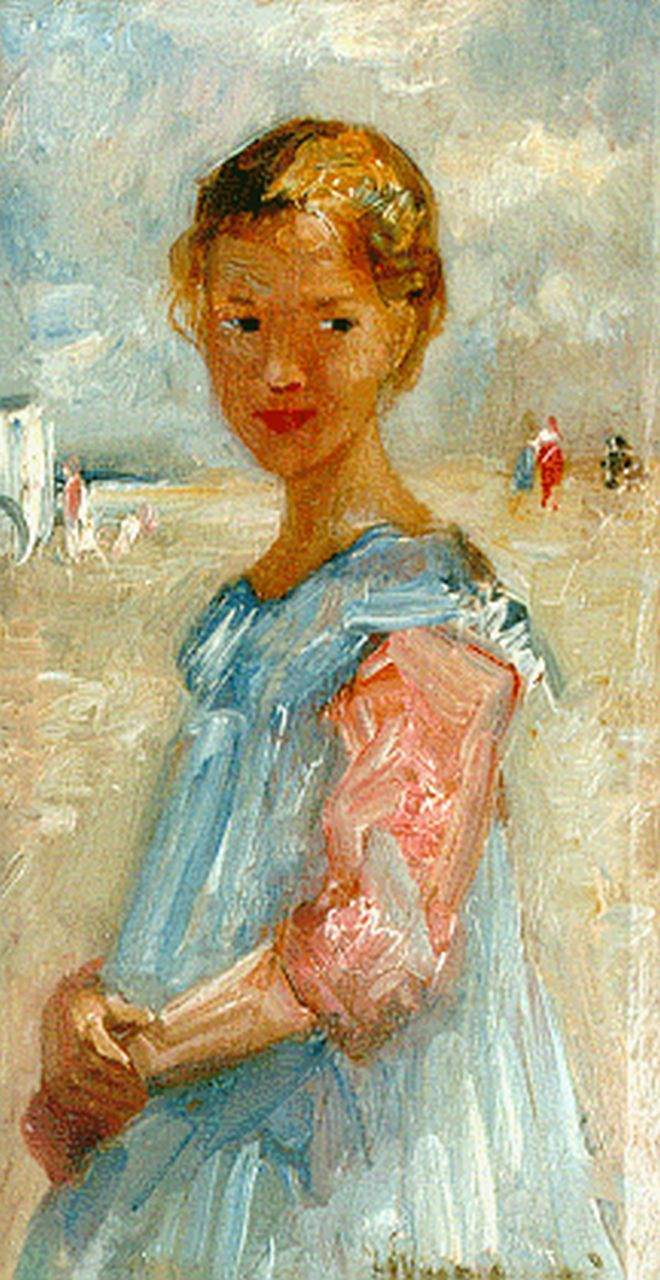 Maris S.W.  | Simon Willem Maris, A little girl in a blue dress on the beach, Zandvoort, oil on panel 22.0 x 11.7 cm, signed l.r. and dated 1917