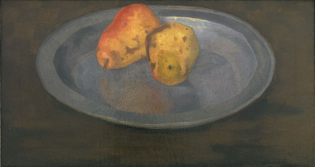 Henk Kuipers | Two pears on a tin plate, oil on canvas, 27.3 x 50.2 cm, signed l.r. and dated 1930