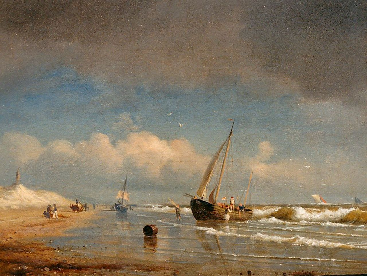 Kummer C.R.  | Carl-Robert Kummer, Vessels along the coast, oil on canvas 19.2 x 23.9 cm, signed l.l. and dated 1854