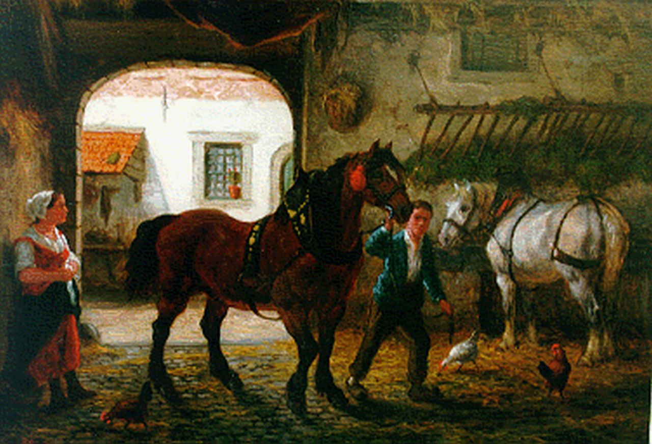 Boogaard W.J.  | Willem Johan Boogaard, A stable interior, oil on panel 19.5 x 27.8 cm, signed l.l. and dated 1875