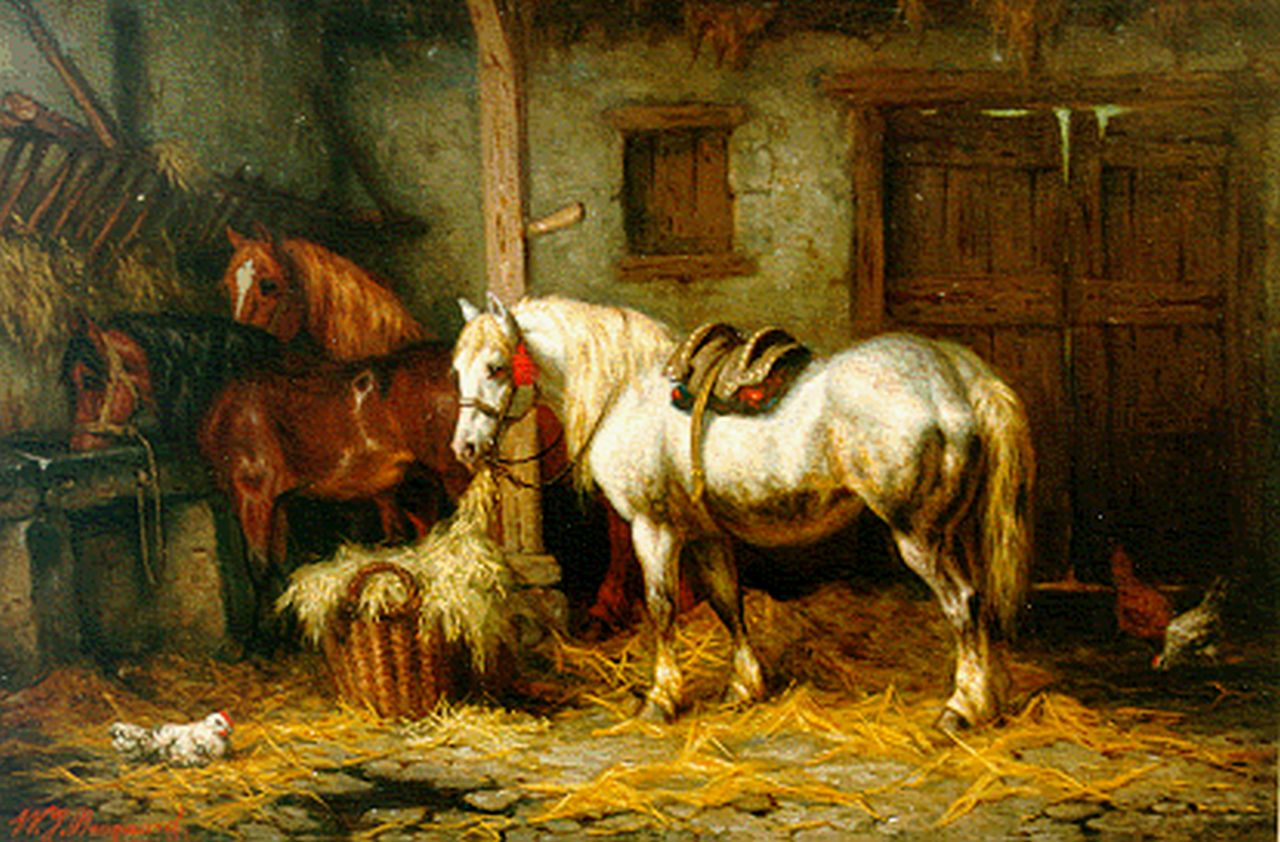 Boogaard W.J.  | Willem Johan Boogaard, Three horses in a stable, oil on panel 26.8 x 39.9 cm, signed l.l. and dated 1881