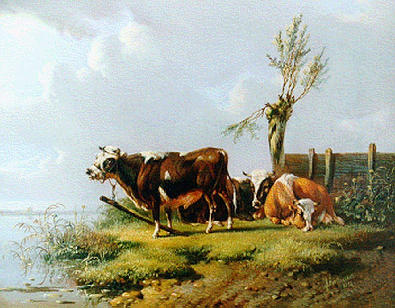 Verhoesen A.  | Albertus Verhoesen, Cattle on the riverbank, oil on panel 14.3 x 17.6 cm, signed l.r. and dated 1856