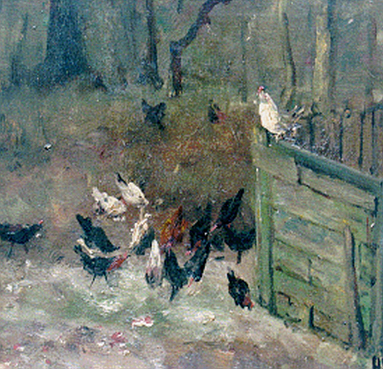 Mesdag H.W.  | Hendrik Willem Mesdag, Chickens on a farmyard, 21.2 x 21.6 cm, signed l.r. with initials