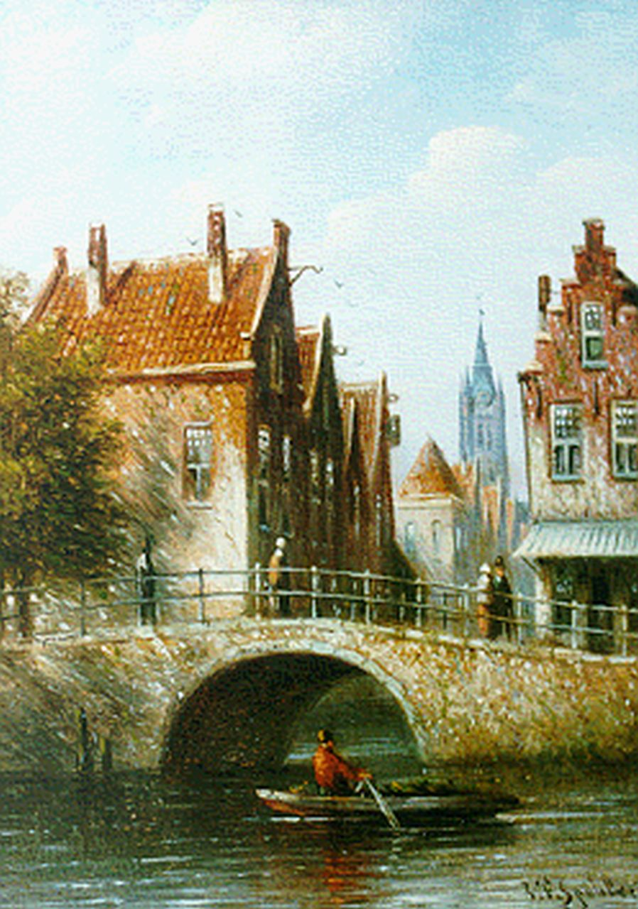 Spohler J.F.  | Johannes Franciscus Spohler, Delft in summer, oil on panel 12.0 x 8.7 cm, signed l.r.