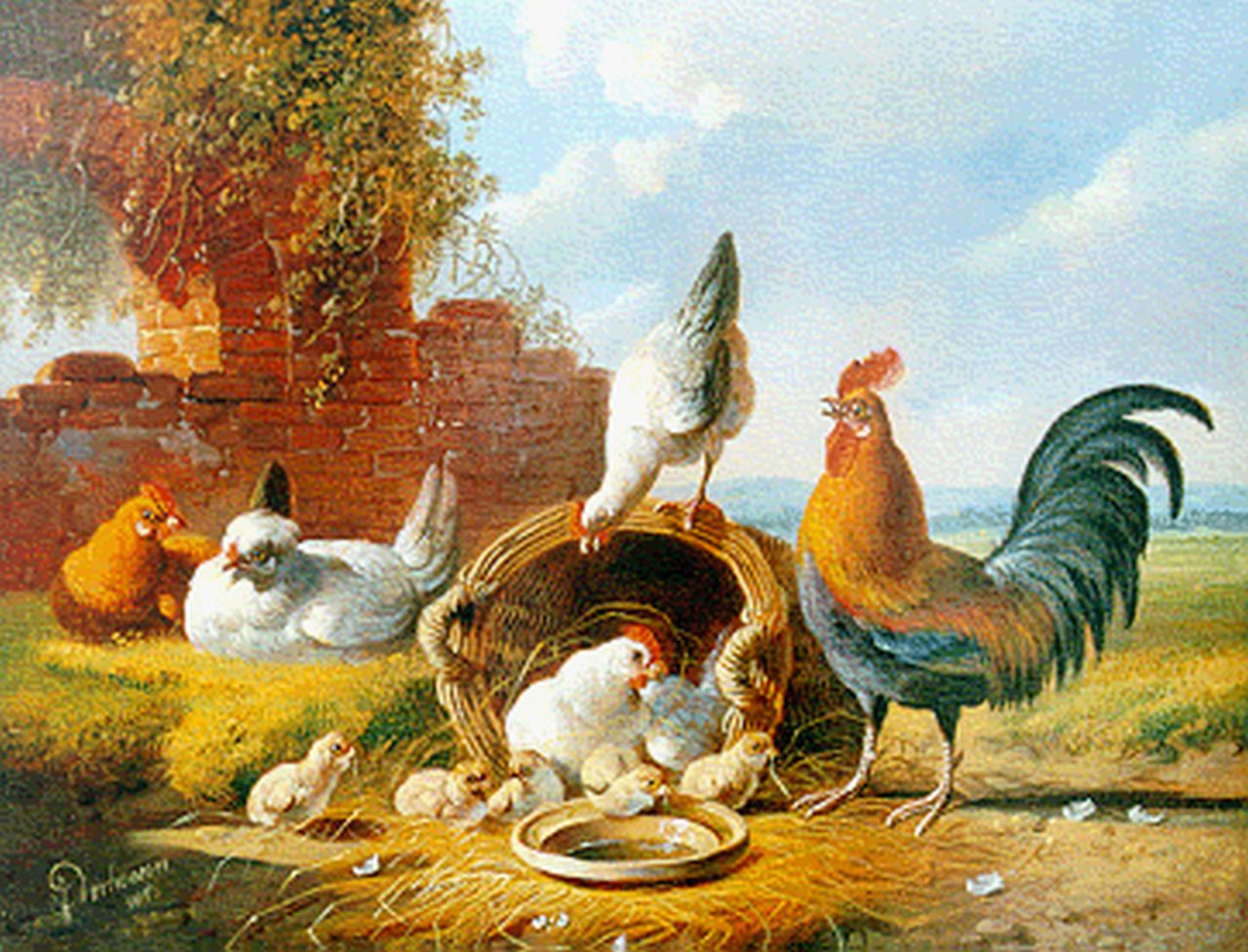 Verhoesen A.  | Albertus Verhoesen, Poultry by a ruin, oil on panel 18.6 x 24.1 cm, signed l.l. and dated 1876