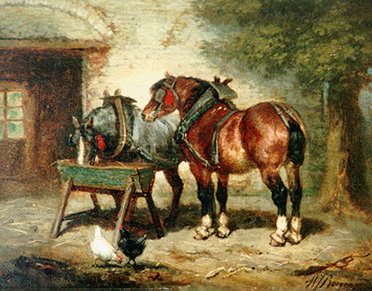 Boogaard W.J.  | Willem Johan Boogaard, Horses eating, oil on panel 27.0 x 21.0 cm, signed l.r.