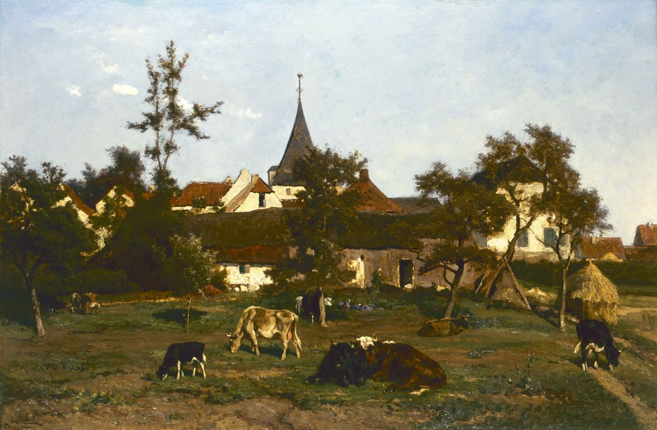 Paul Joseph Constantin Gabriel & Jan de Haas | Cattle in a meadow, oil on canvas, 66.2 x 100.5 cm, signed l.l.