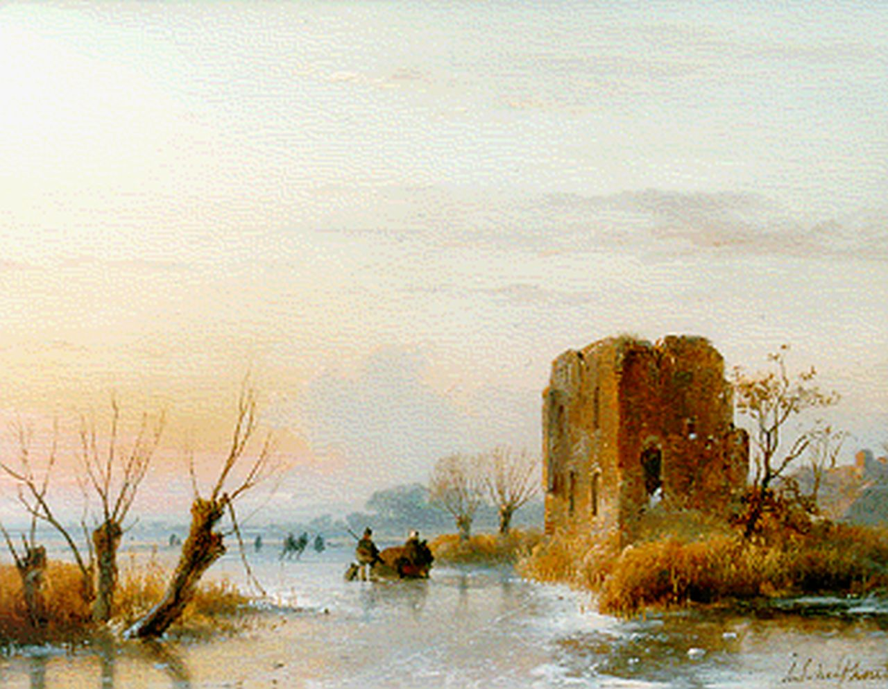 Schelfhout A.  | Andreas Schelfhout, A frozen waterway with a ruin in the distance, oil on panel 20.7 x 27.0 cm, signed l.r.