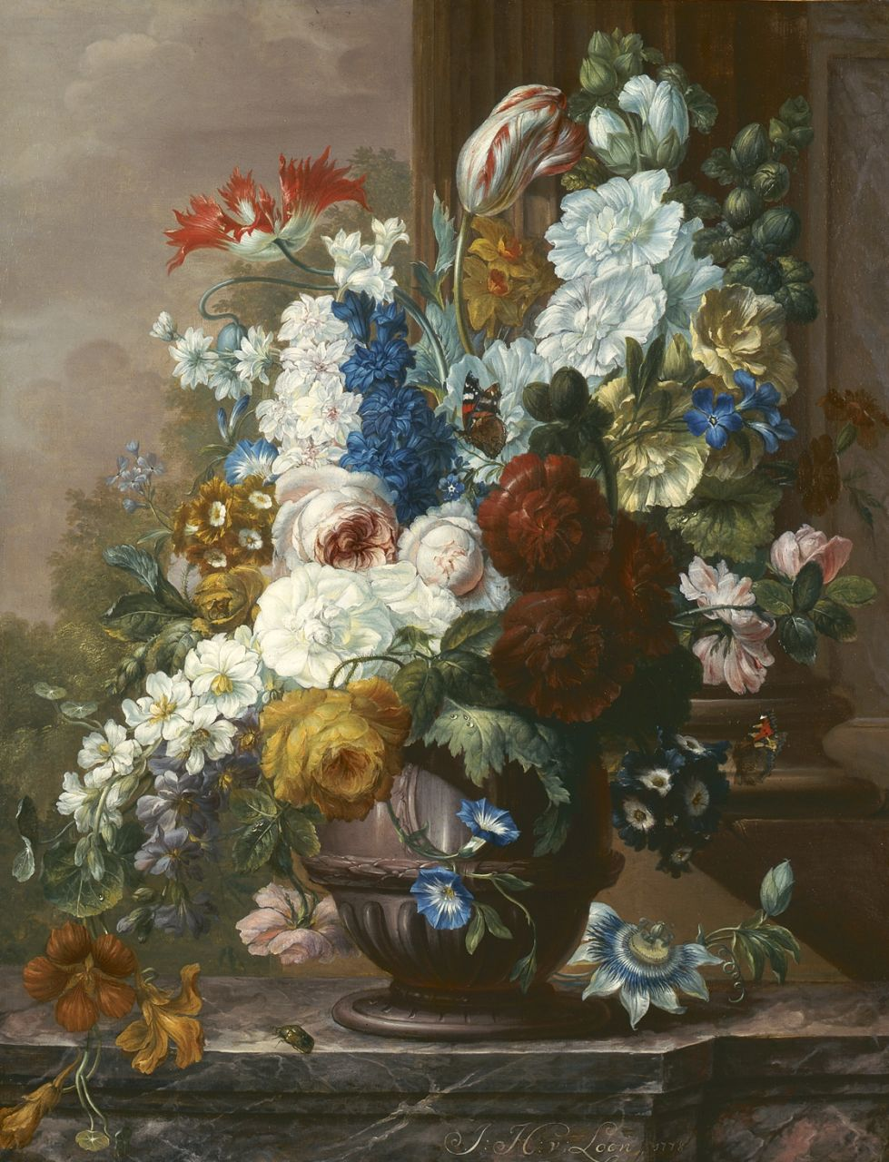 Johannes Hermanus van Loon | A colourful bouquet with butterflies, oil on canvas, 68.0 x 51.0 cm, signed l.r. and dated 1778