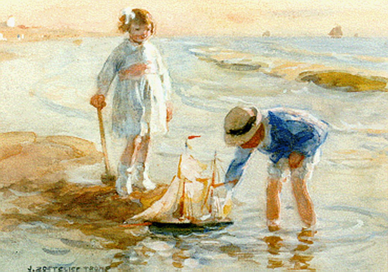 Zoetelief Tromp J.  | Johannes 'Jan' Zoetelief Tromp, Children playing in the surf, watercolour on paper 17.5 x 24.5 cm, signed l.l.