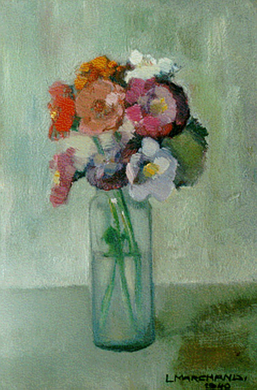 Leo Marchand | A flower still life, 23.7 x 16.0 cm, signed l.r. and dated 1940