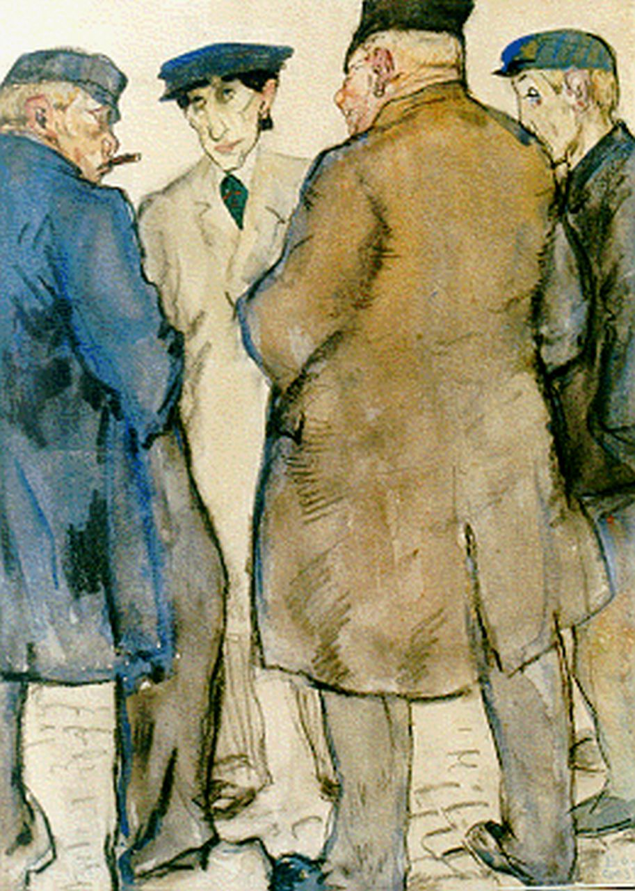 Gestel L.  | Leendert 'Leo' Gestel, The cattle market, mixed media on paper 32.0 x 24.0 cm, signed l.r. and dated '09