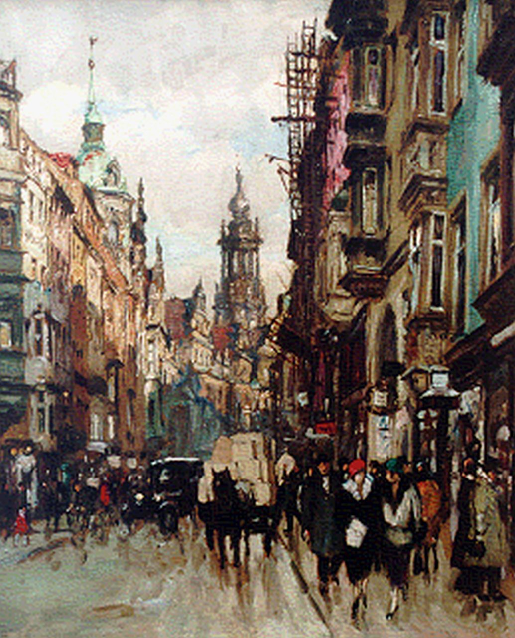 Fritz Beckert | A busy street, Dresden, 53.0 x 44.0 cm, signed l.l. and dated 1924
