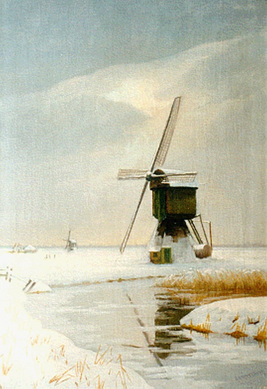 Smorenberg D.  | Dirk Smorenberg, A snow-covered landscape near Ankeveen, oil on canvas 59.0 x 41.5 cm, signed l.r.