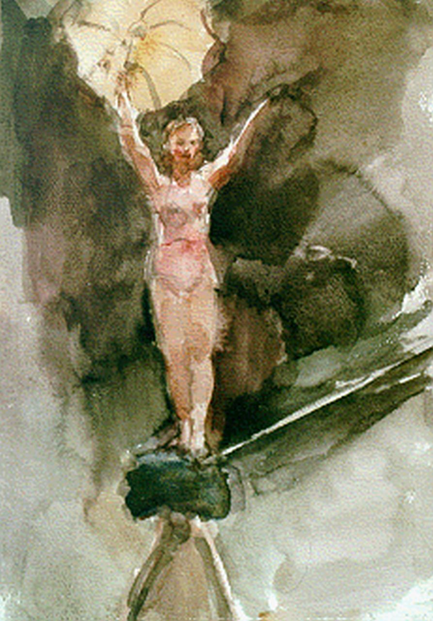Israels I.L.  | 'Isaac' Lazarus Israels, A tightrope dancer, La Scala Theatre, Milan, watercolour on paper 31.5 x 24.0 cm, signed l.r. and painted circa 1925