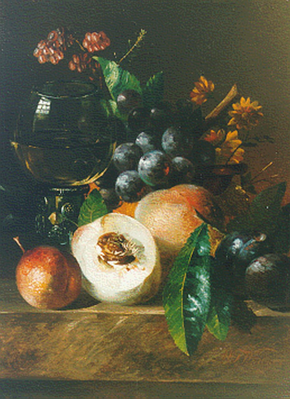 Willem Frederik Weidner | Still life with peaches, grapes and a 'roemer', oil on panel, 25.8 x 19.1 cm, signed l.r.