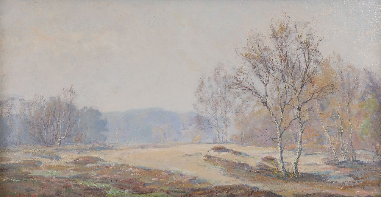 Meijer J.  | Johannes 'Johan' Meijer, A foggy autumn morning, oil on canvas 44.0 x 84.5 cm, signed l.l.