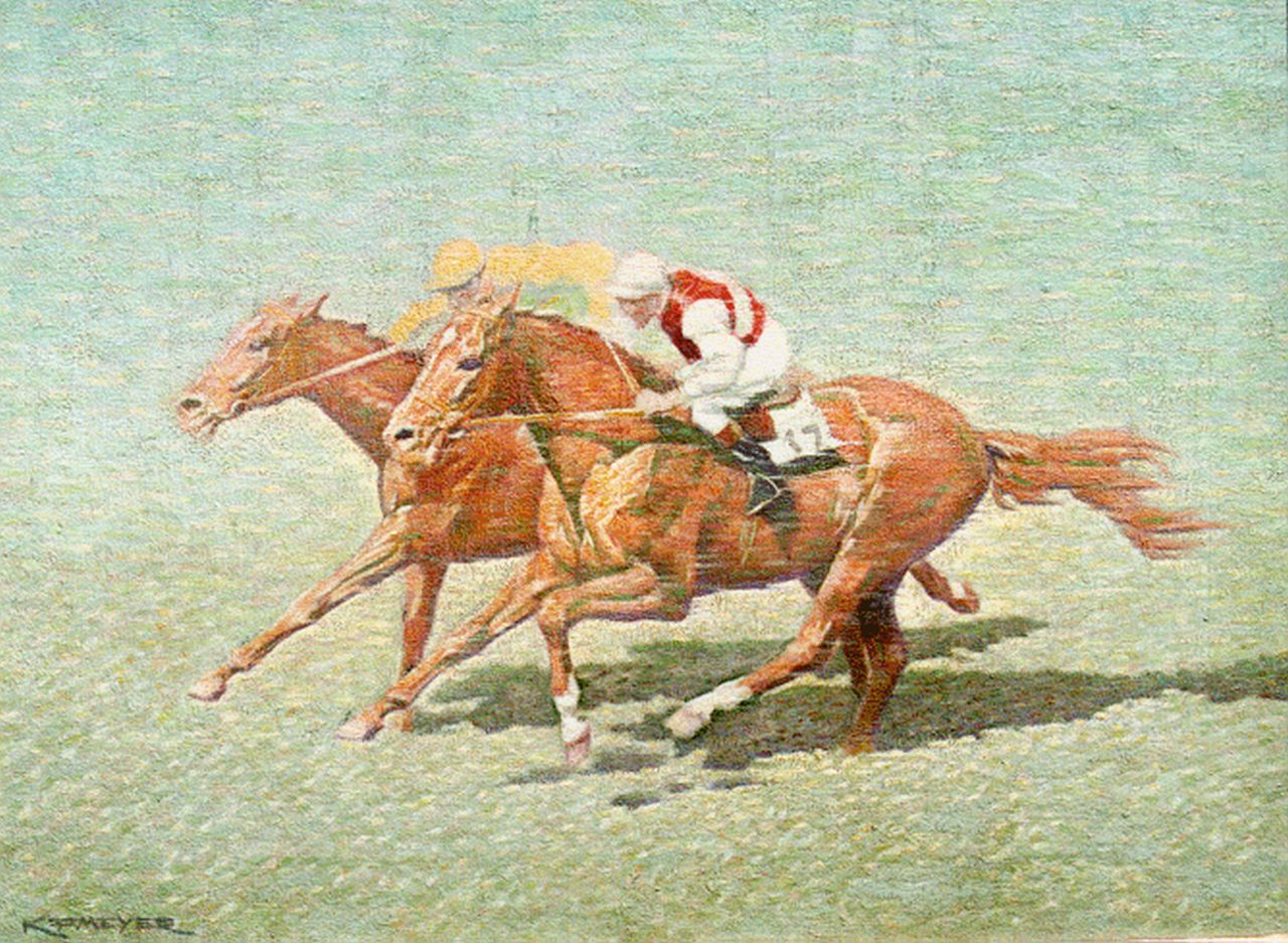 Koenraad Franciscus Meijer | Horserace, oil on canvas, 30.0 x 40.0 cm, signed l.l.
