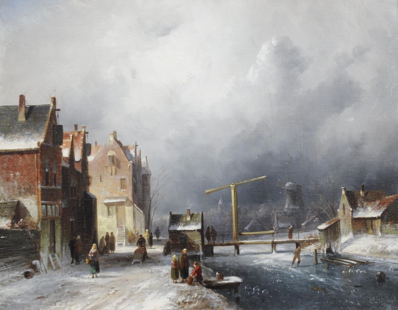 Leickert C.H.J.  | 'Charles' Henri Joseph Leickert, A Dutch town in winter, oil on canvas 35.2 x 44.4 cm, signed l.r.
