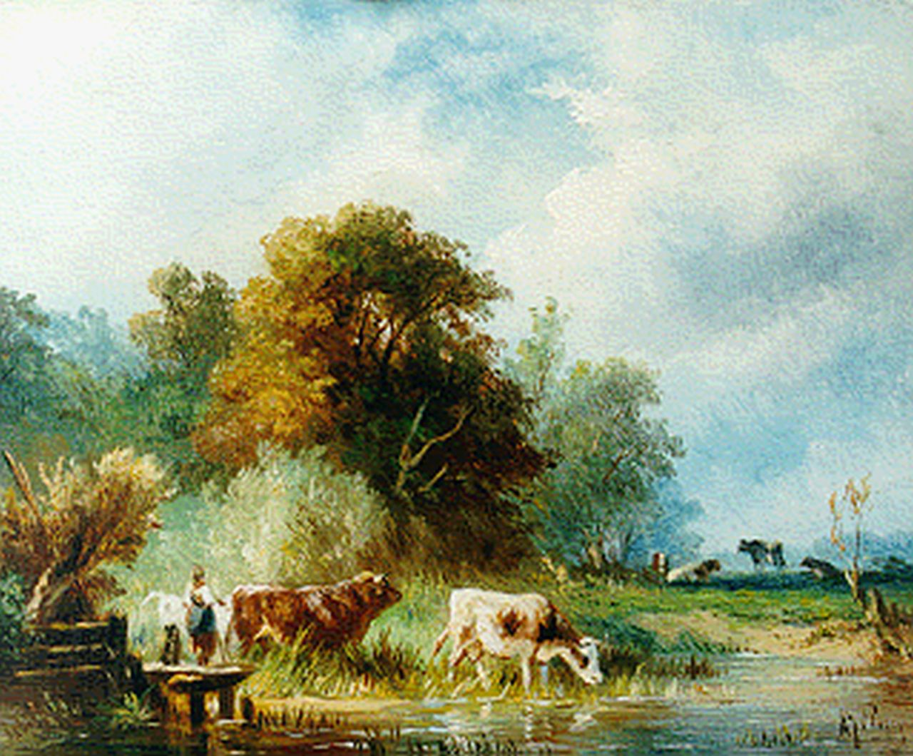 Prooijen A.J. van | Albert Jurardus van Prooijen, A polder landscape with cows watering, oil on panel 13.5 x 16.5 cm, signed l.r.