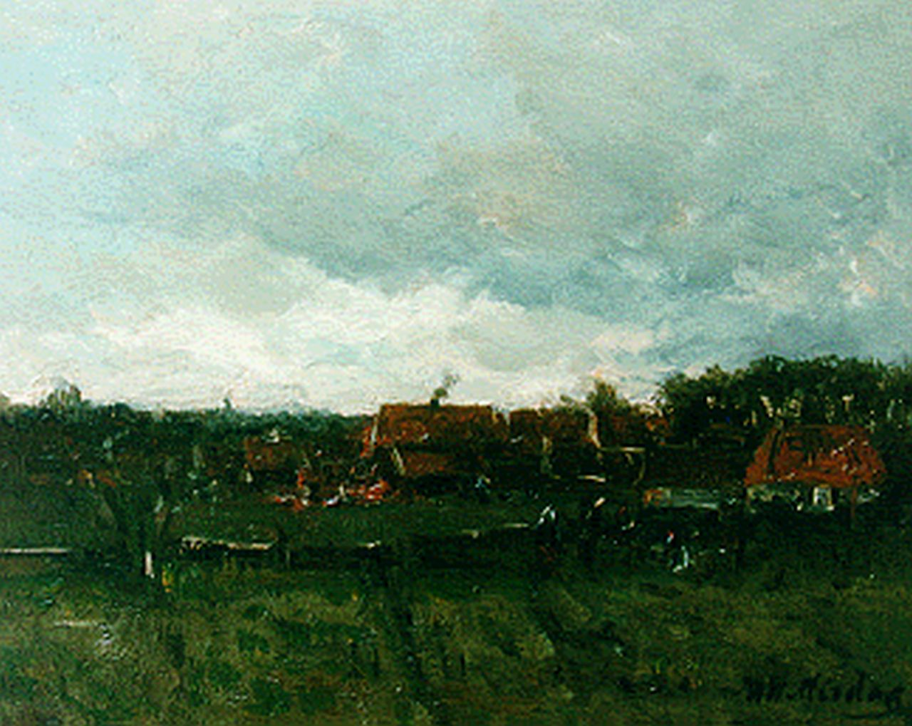 Mesdag H.W.  | Hendrik Willem Mesdag, View of a village, oil on panel 20.0 x 25.0 cm, signed l.r.