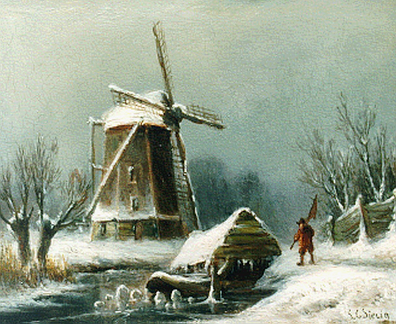 Sierich L.C.  | Ludwig Casimir 'Louis' Sierich, A winter landscape with windmill, oil on panel 13.3 x 16.4 cm, signed l.r.