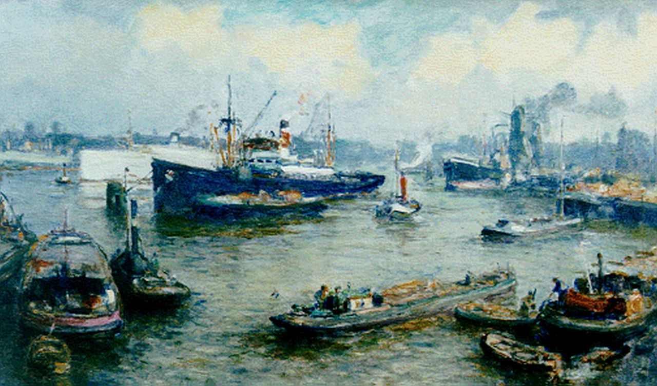 Moll E.  | Evert Moll, Harbour activities, Rotterdam, oil on canvas 59.6 x 99.8 cm, signed l.l.