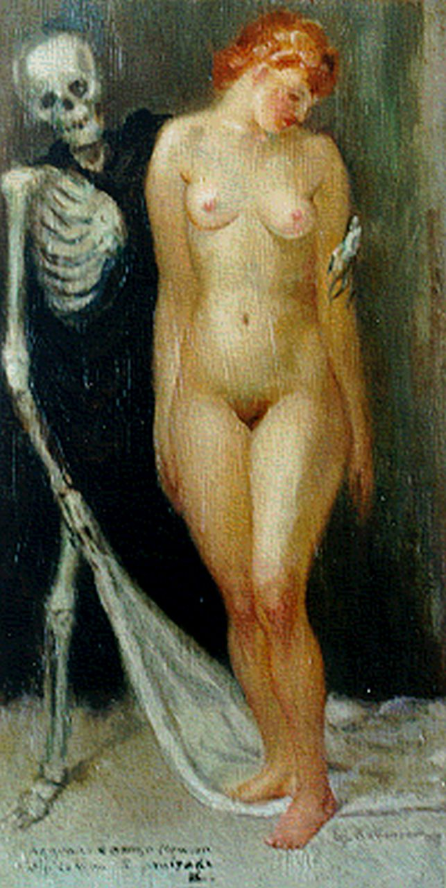 Lui Kaltenbach | Mortality, oil on panel, 25.6 x 13.2 cm, signed l.r. and dated 1933