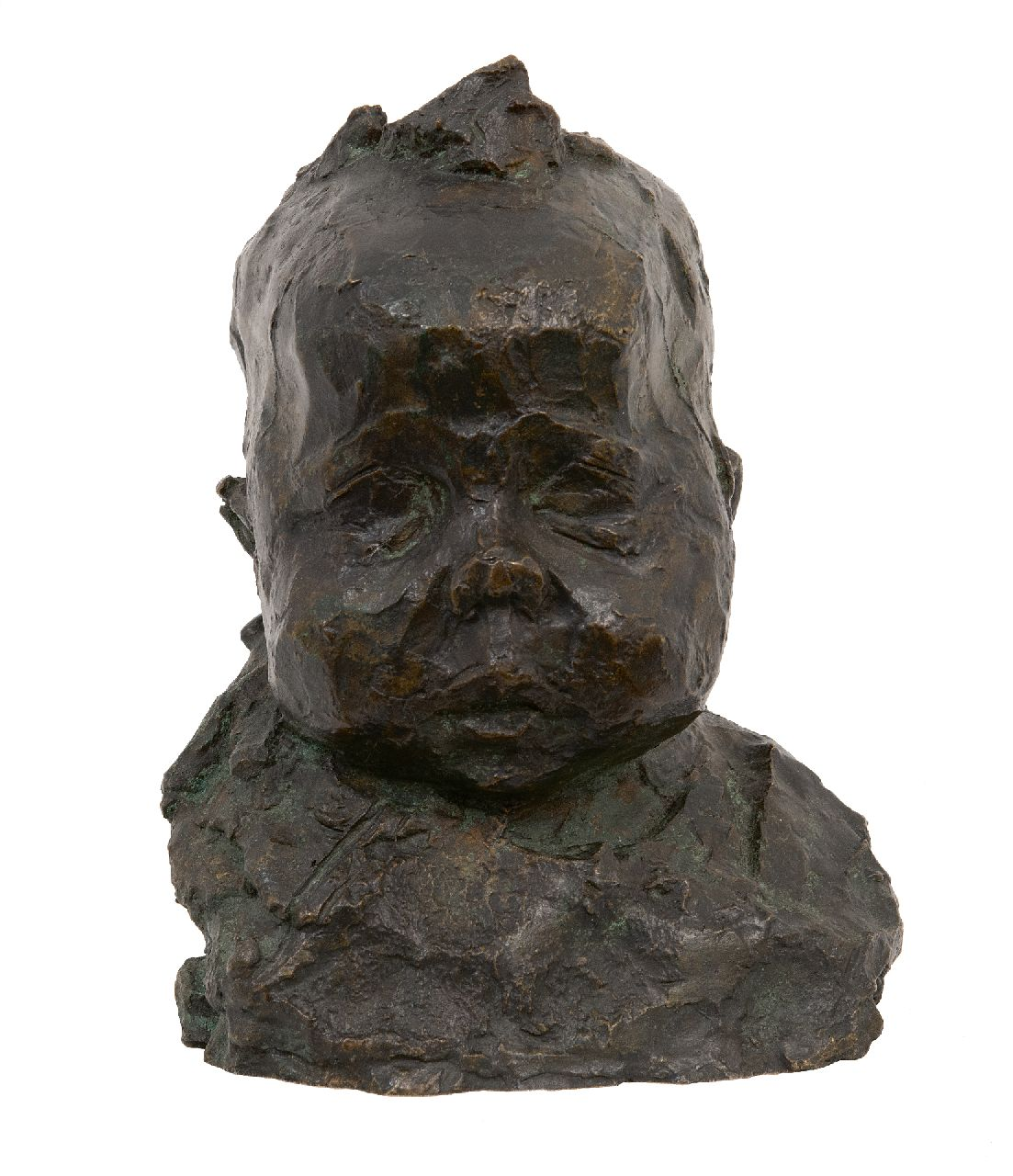 Zijl L.  | Lambertus Zijl | Sculptures and objects offered for sale | A baby's head, bronze 21.0 cm, signed on the back with initials and made in june '93