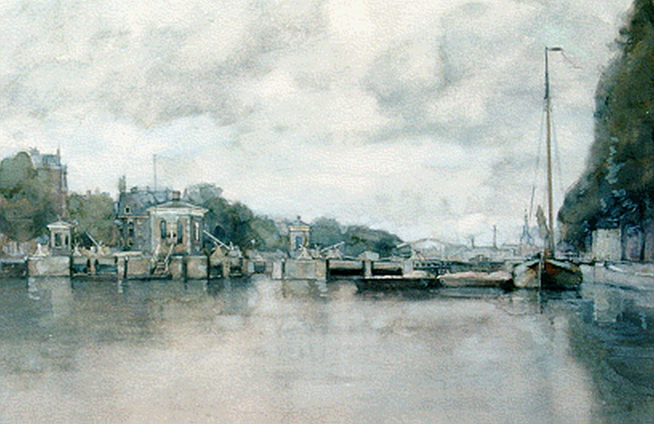 Muller G.G.  | 'Gerard' Gustaaf Muller, River locks in the Amstel with the Royal Theater Carré, Amsterdam, watercolour on paper 33.0 x 48.5 cm, signed l.l.