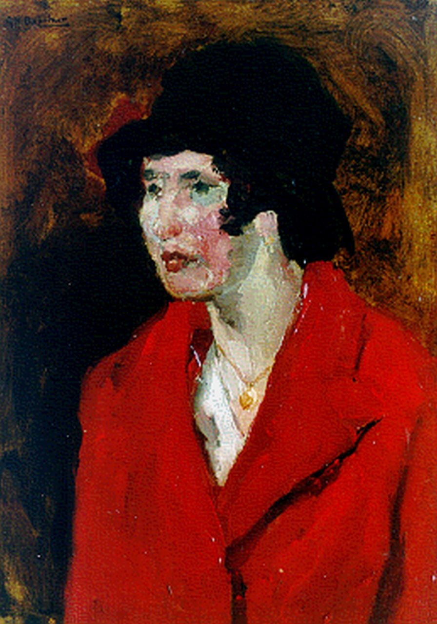 Breitner G.H.  | George Hendrik Breitner, A lady with a red coat, oil on panel 39.5 x 29.0 cm, signed u.l.