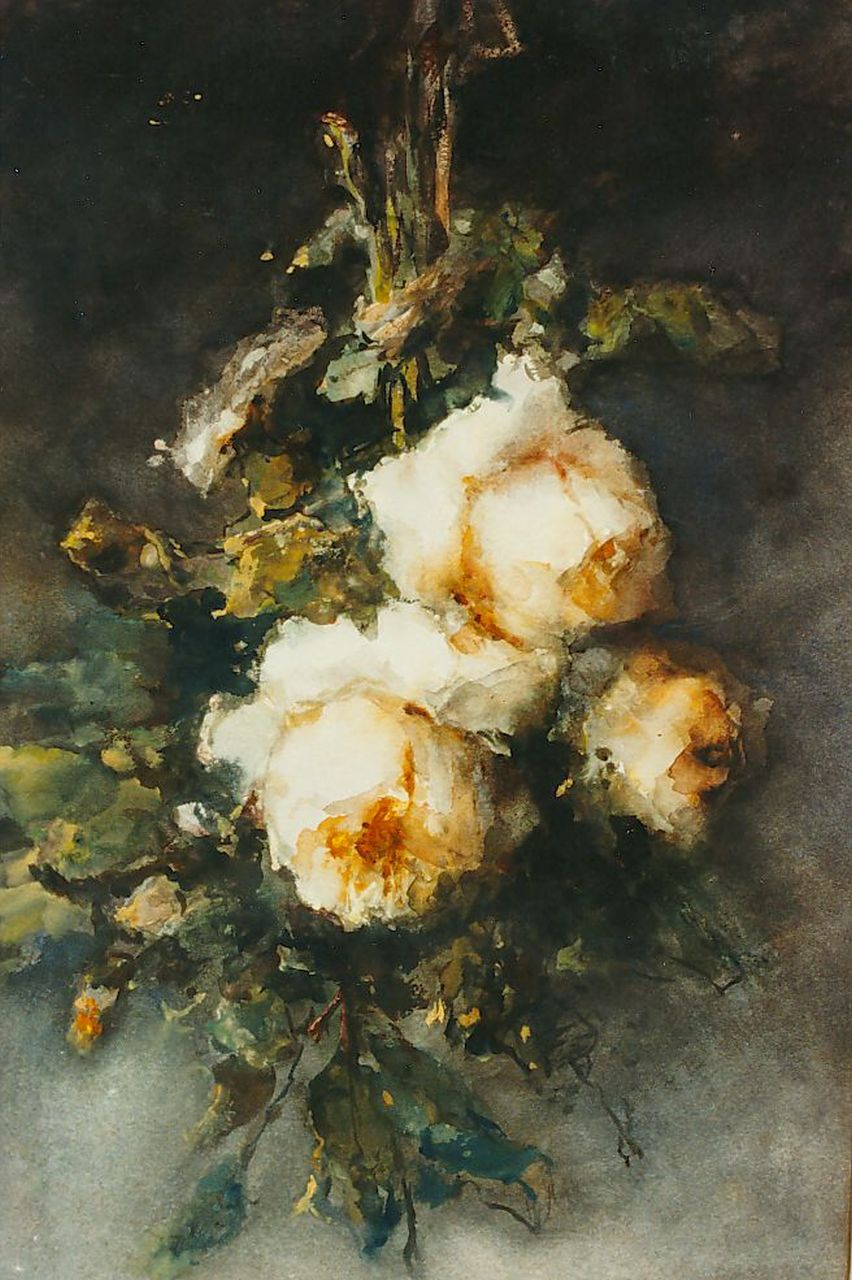 Roosenboom M.C.J.W.H.  | 'Margaretha' Cornelia Johanna Wilhelmina Henriëtta Roosenboom, Yellow Roses, watercolour on paper 53.5 x 36.0 cm