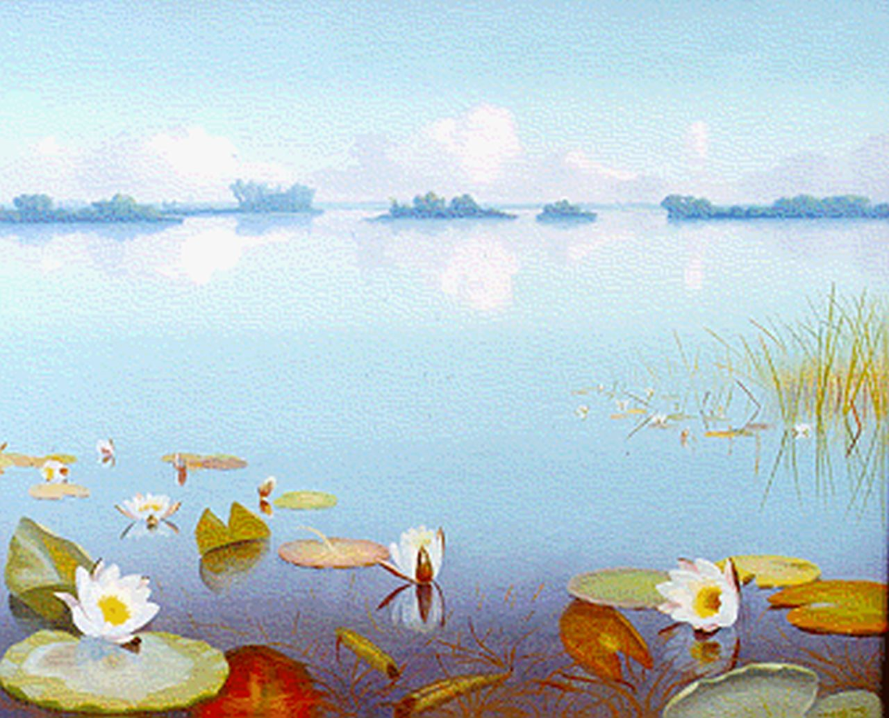 Smorenberg D.  | Dirk Smorenberg, The Loosdrechtse Plassen with water lilies, oil on canvas 50.0 x 60.0 cm, signed l.r.