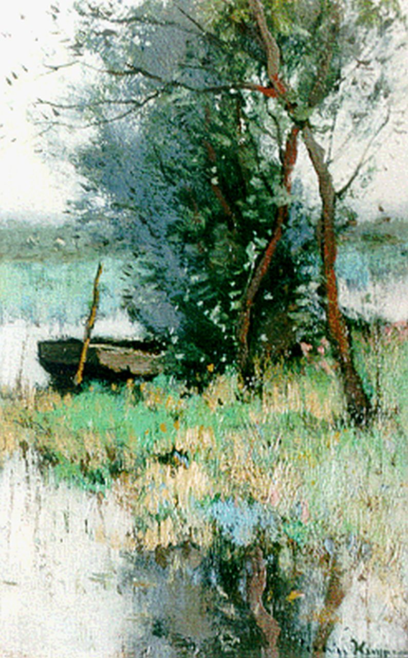 Kuijpers C.  | Cornelis Kuijpers, A moored barge in a polder landscape, oil on canvas 20.7 x 13.2 cm, signed l.r.