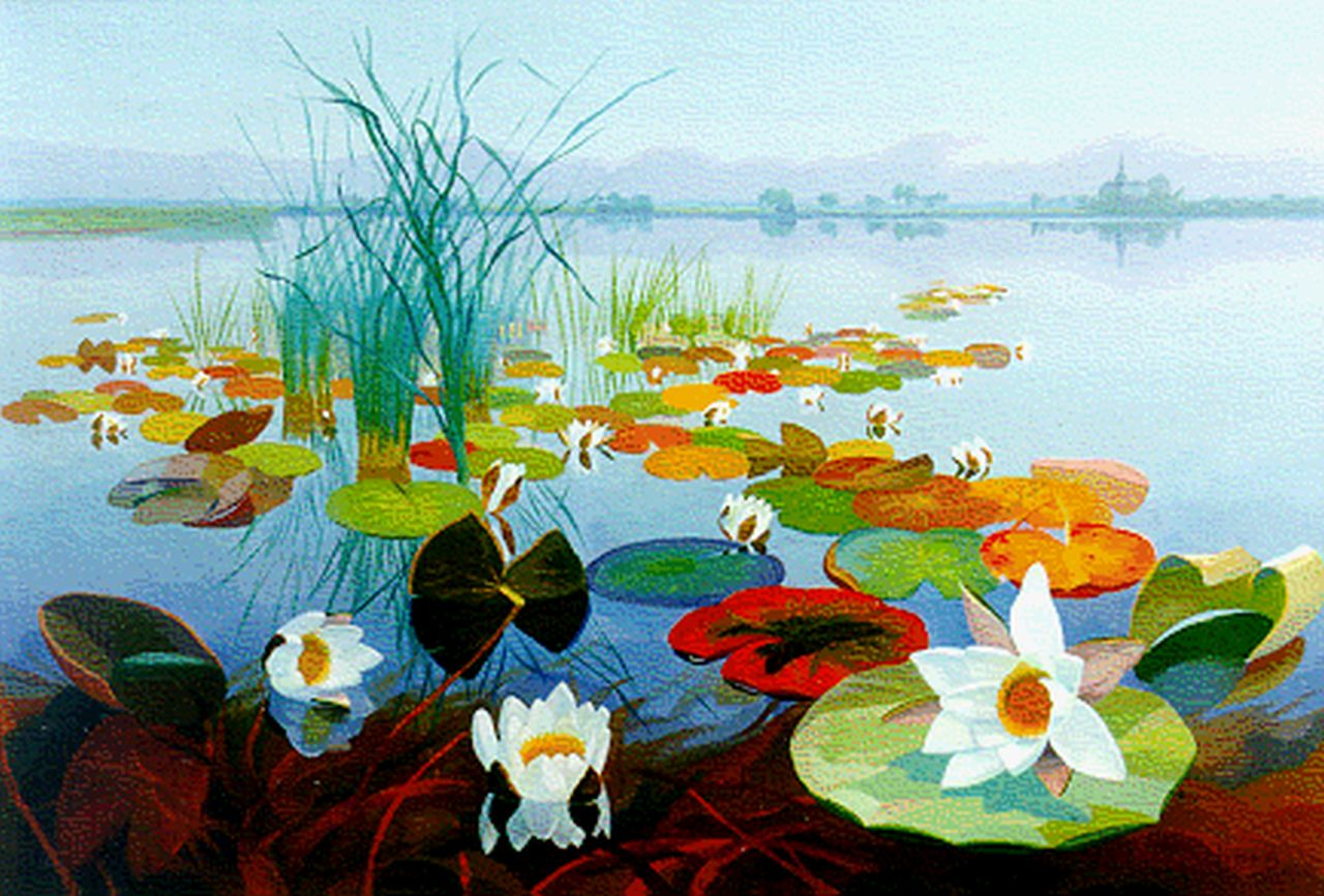 Smorenberg D.  | Dirk Smorenberg, Water lilies, Loosdrechtse Plassen, oil on canvas 45.0 x 65.0 cm, signed l.r. and dated '23