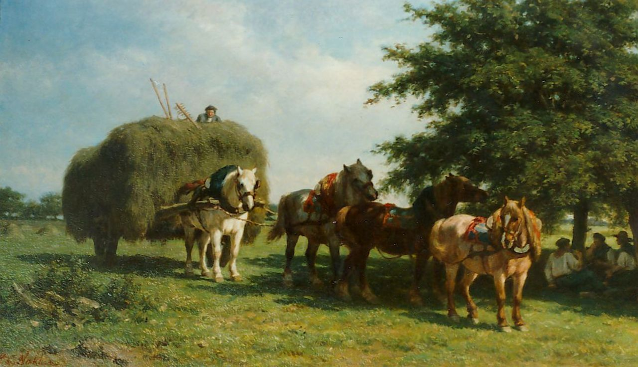 Nakken W.K.  | Willem Karel 'W.C.' Nakken, A hay-cart in a landscape, oil on canvas 60.0 x 102.5 cm, signed l.l.