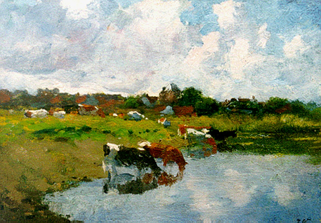 Voerman sr. J.  | Jan Voerman sr., Watering cows, oil on panel 17.7 x 25.3 cm, signed l.r. with initials