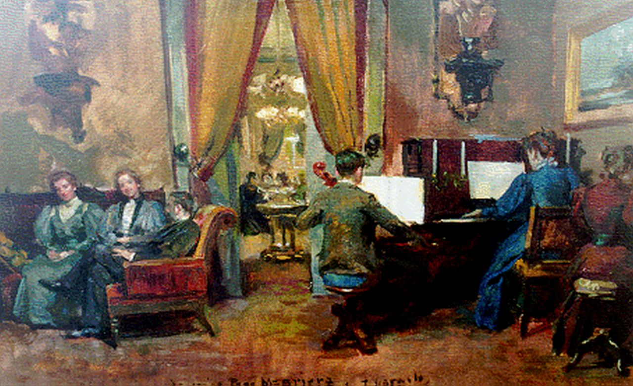 Jose Garnelo | The recital, oil on canvas, 29.3 x 46.5 cm, signed l.c. and dated '96