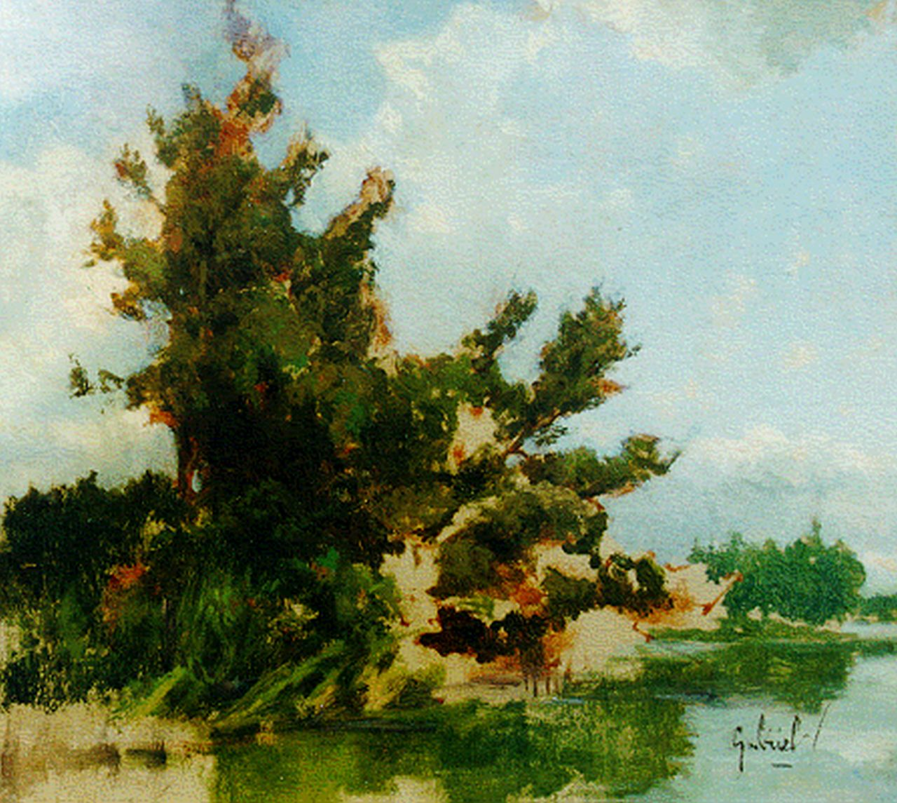 Gabriel P.J.C.  | Paul Joseph Constantin 'Constan(t)' Gabriel, Landscape with pond (sketch), oil on panel 28.4 x 31.7 cm, signed l.r.
