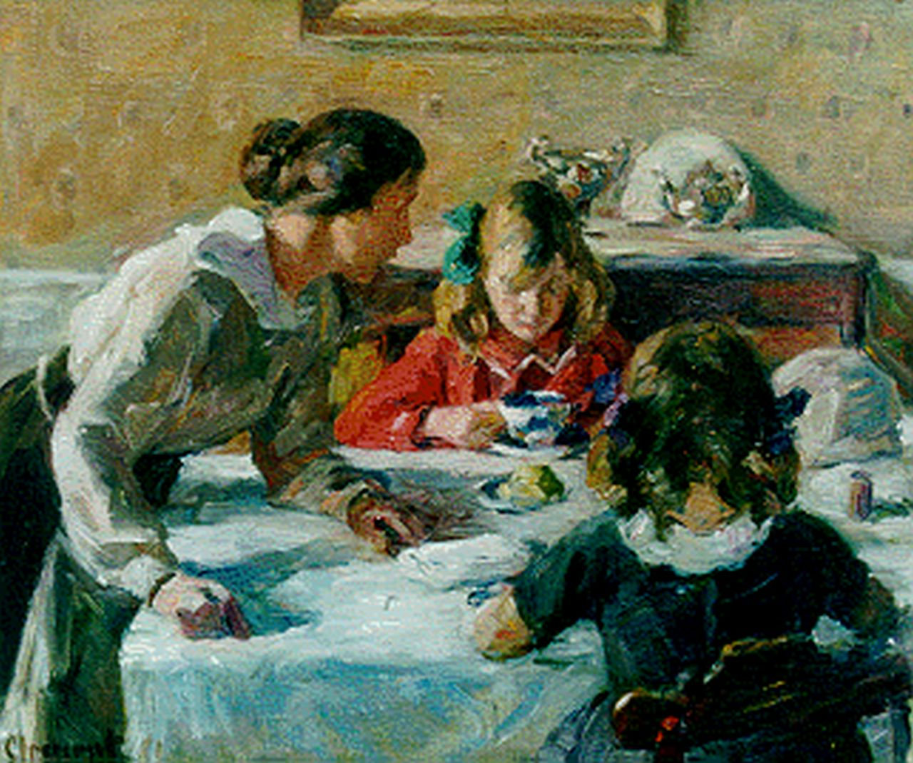 Gad Frederik Clement | Having breakfast, oil on canvas, 36.7 x 43.4 cm, signed l.l.