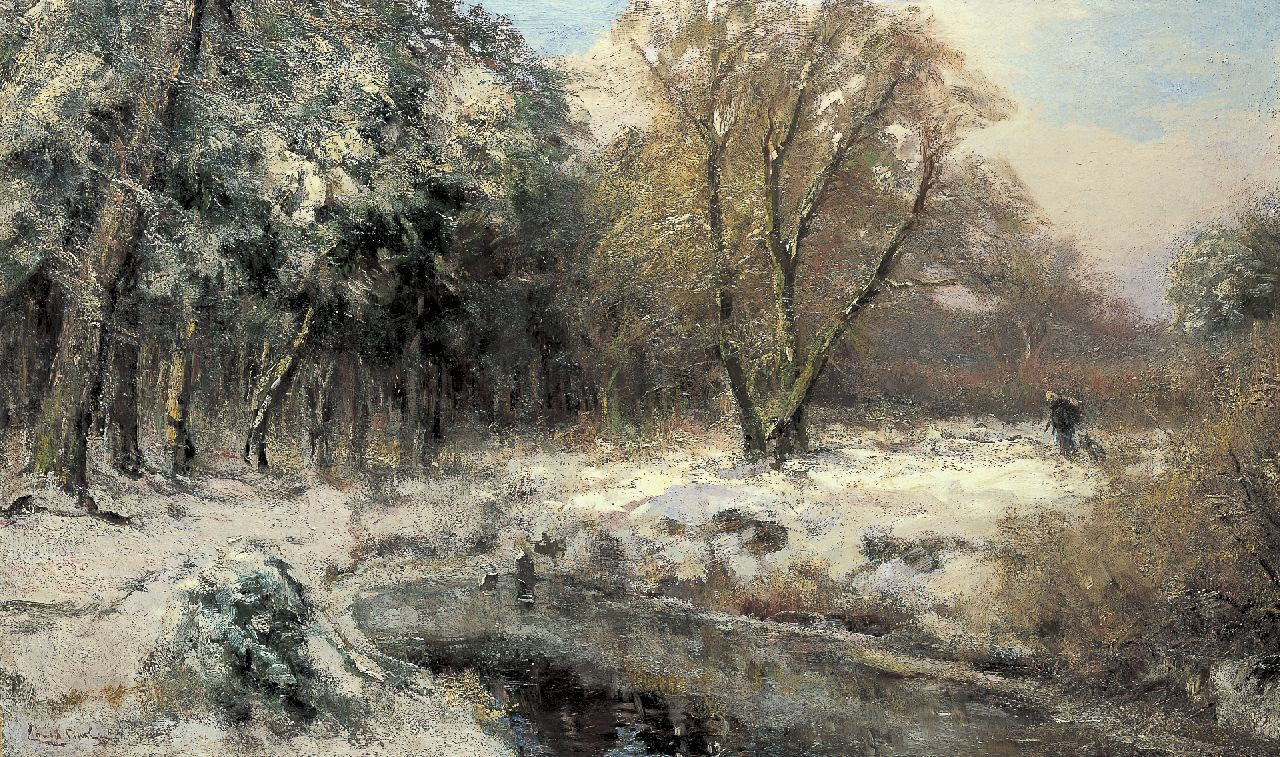 Apol L.F.H.  | Lodewijk Franciscus Hendrik 'Louis' Apol, A winter landscape with a woman gathering wood, oil on canvas 60.0 x 100.3 cm, signed l.l.