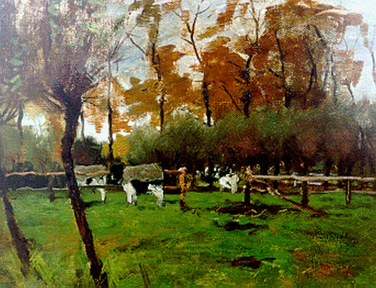 Poggenbeek G.J.H.  | George Jan Hendrik 'Geo' Poggenbeek, Cows by a fence, oil on canvas laid down on panel 24.4 x 32.4 cm