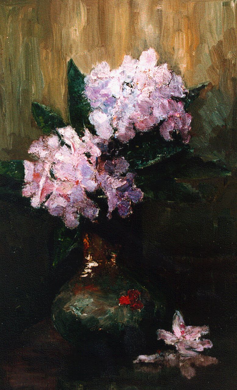 Philip Zilcken | Two twigs of rhododendrons in a ginger jar, oil on panel, 40.0 x 23.2 cm