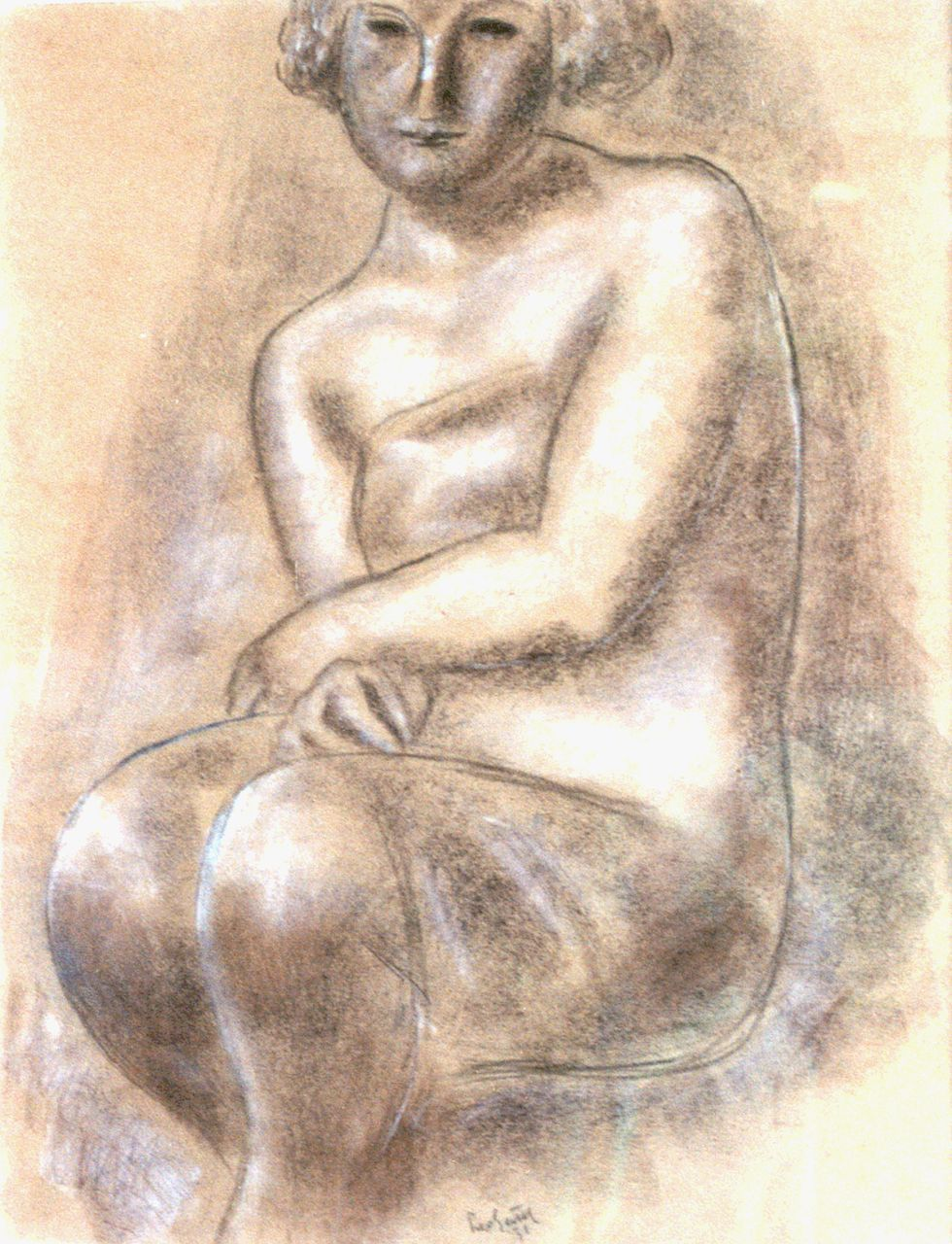 Gestel L.  | Leendert 'Leo' Gestel, A seated nude, chalk on paper 62.0 x 48.0 cm, signed l.c. and dated '31