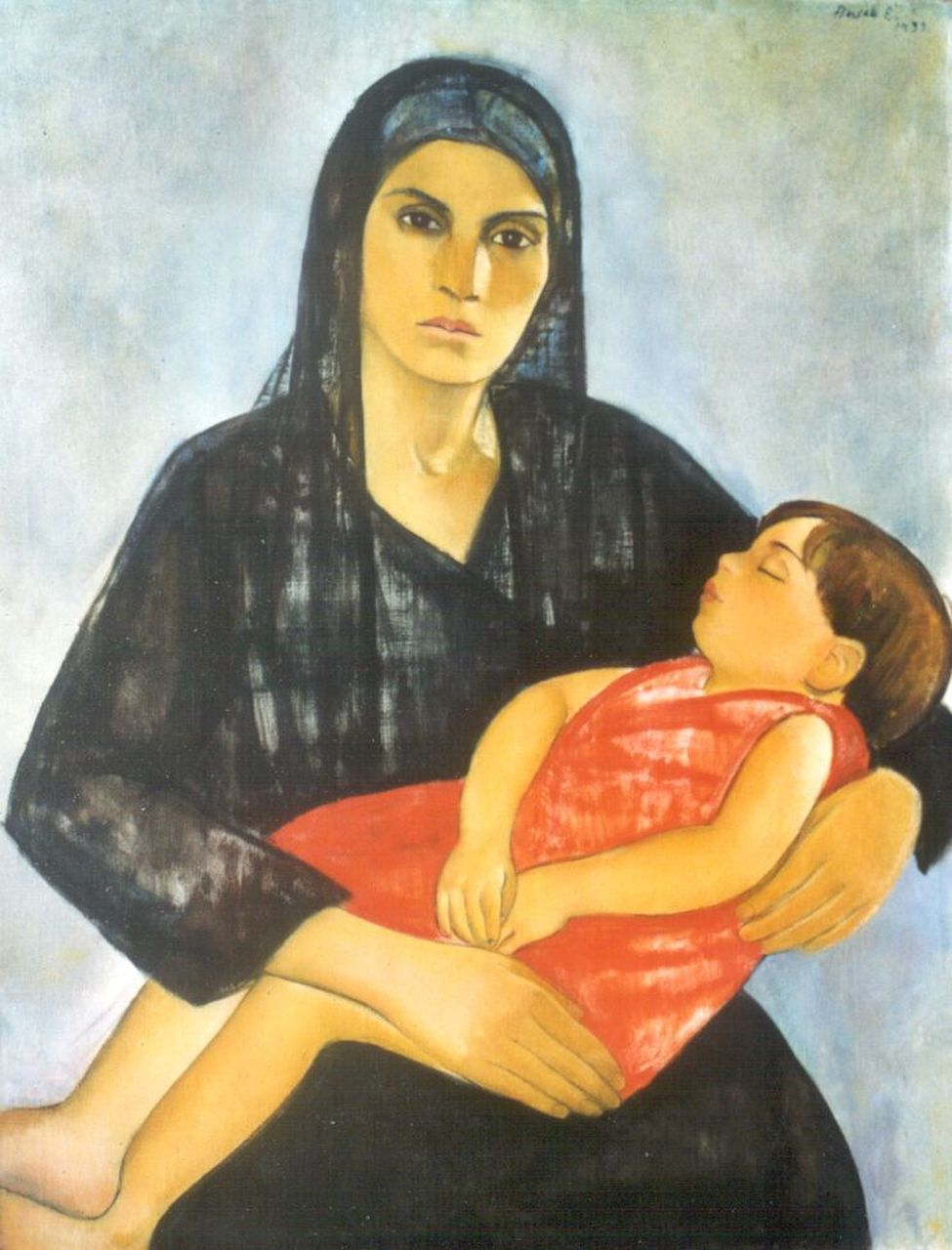 Basch E.  | Edith Basch, Mother with a sleeping child, oil on canvas 95.7 x 74.0 cm, signed u.r. and dated 1933